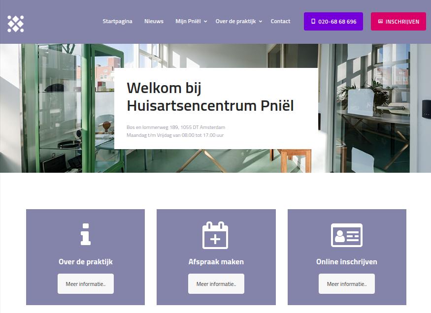 Screenshot nieuwe website Huisartsenpraktijk Pniël.
